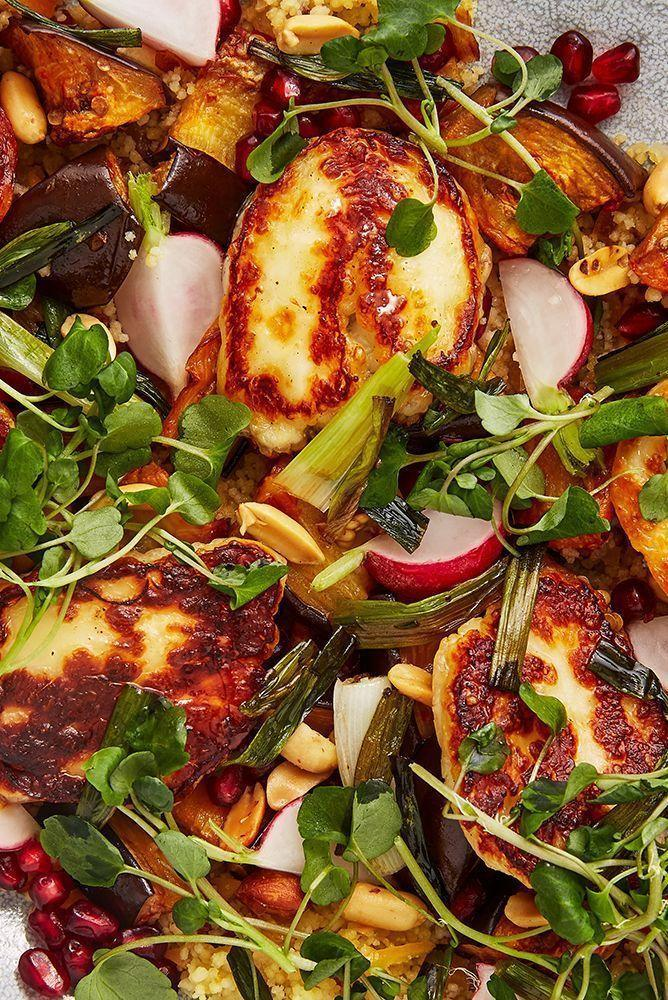 """<p>Halloumi, <a href=""""https://www.delish.com/uk/cooking/recipes/g28961707/aubergine-recipes/"""" rel=""""nofollow noopener"""" target=""""_blank"""" data-ylk=""""slk:aubergine"""" class=""""link rapid-noclick-resp"""">aubergine</a>, harissa and pomegranate seeds are a match-made in heaven. We love this halloumi salad, it's healthy, filling and perfect for lunch, dinner or as part of a feast. </p><p>Get the <a href=""""https://www.delish.com/uk/cooking/recipes/a30271089/halloumi-salad/"""" rel=""""nofollow noopener"""" target=""""_blank"""" data-ylk=""""slk:Aubergine, Harissa And Halloumi Salad"""" class=""""link rapid-noclick-resp"""">Aubergine, Harissa And Halloumi Salad</a> recipe.</p>"""