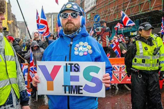 Some 80,000 supporters came out in support of Scottish independence following the UK general election (PA)