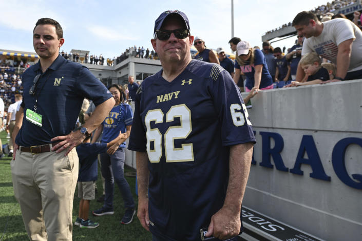 Maryland Governor Larry Hogan looks on from the sideline before an NCAA college football game between Navy and Air Force, Saturday, Sept. 11, 2021, in Annapolis, Md. (AP Photo/Terrance Williams)