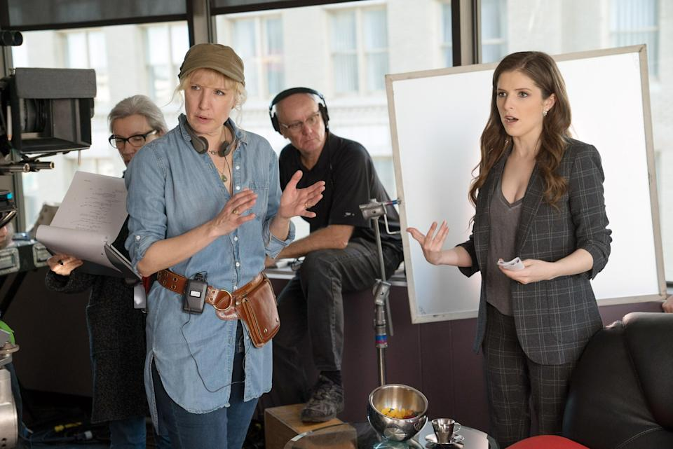 Trish Sie and Anna Kendrick on the set of <em>Pitch Perfect 3. </em>(Photo: Universal Pictures/courtesy Everett Collection)