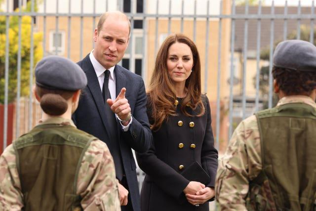 William and Kate talk to cadets