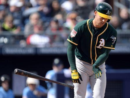 FILE PHOTO: Feb 22, 2019; Peoria, AZ, USA; Oakland Athletics shortstop Chad Pinder (18) flips his bat after drawing a walk in the second inning against the Seattle Mariners during the second inning at Peoria Stadium. Mandatory Credit: Joe Camporeale-USA TODAY Sports