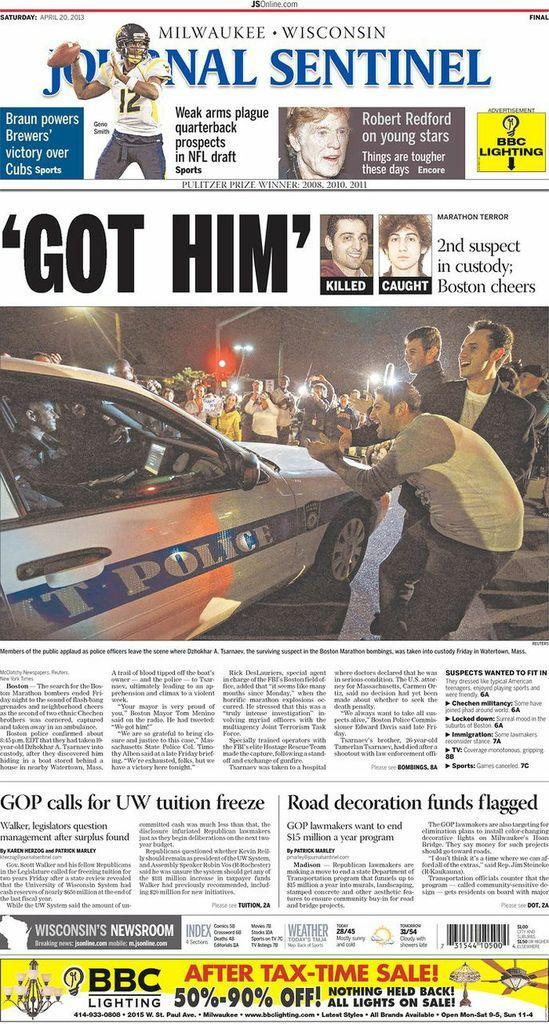 """Got Him."" The Milwaukee Journal-Sentinel, April 20, 2013."