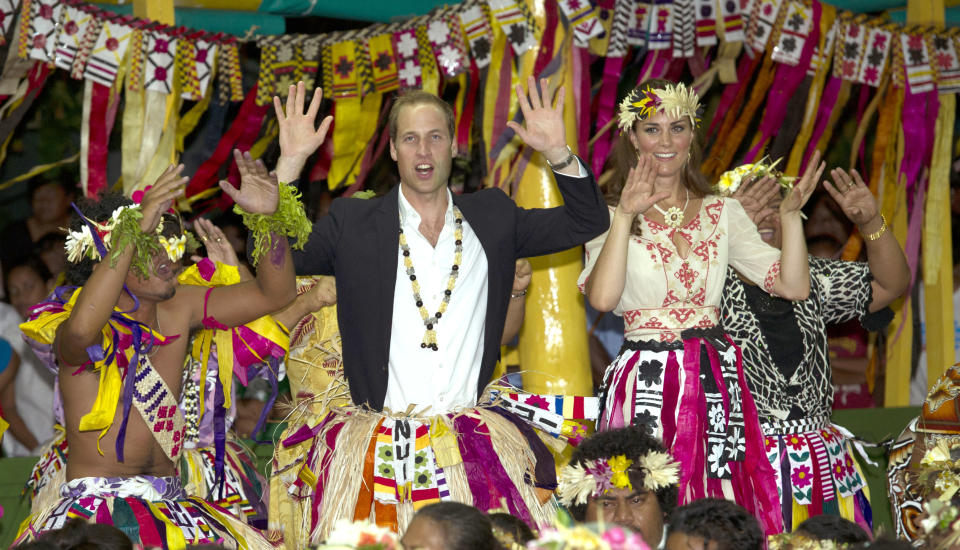 <p>Before they had children, they enjoyed a royal tour to Tuvalu, here dancing with women at the Vaiku Falekaupule for an entertainment programme. (Arthur Edwards)</p>
