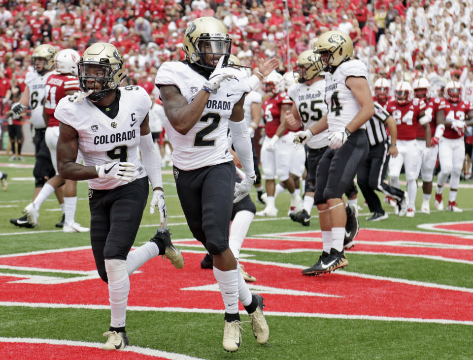 Colorado wide receiver Laviska Shenault Jr. (2) gestures after scoring a touchdown against Nebraska during the first half of an NCAA college football game in Lincoln, Neb., on Sept. 8, 2018. (AP/Nati Harnik)
