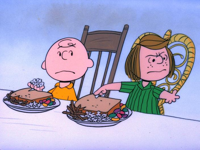 """A CHARLIE BROWN THANKSGIVING - The Walt Disney Television via Getty Images Television Network will celebrate the start of the holiday season with the classic special, """"A Charlie Brown Thanksgiving,"""" MONDAY, NOVEMBER 20 (8:00-8:30 & 8:30-9:00 p.m., ET), on the Walt Disney Television via Getty Images Television Network. In the 1973 special """"A Charlie Brown Thanksgiving,"""" Charlie Brown wants to do something special for the gang. However the dinner he arranges is a disaster when caterers Snoopy and Woodstock prepare toast and popcorn as the main dish. Humiliated, it will take all of Marcie's persuasive powers to salvage the holiday for Charlie Brown.  (Photo by Walt Disney Television via Getty Images Photo Archives/Walt Disney Television via Getty Images)"""