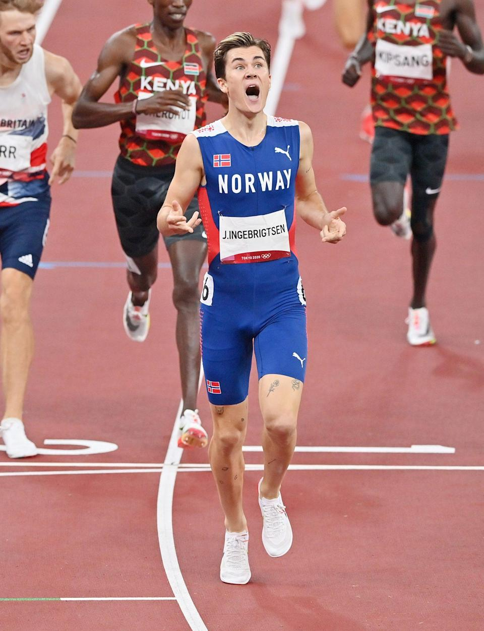 <p>Jakob Ingebrigtsen of Norway is stunned after winning the gold medal in the Men's 1500m Final. </p>