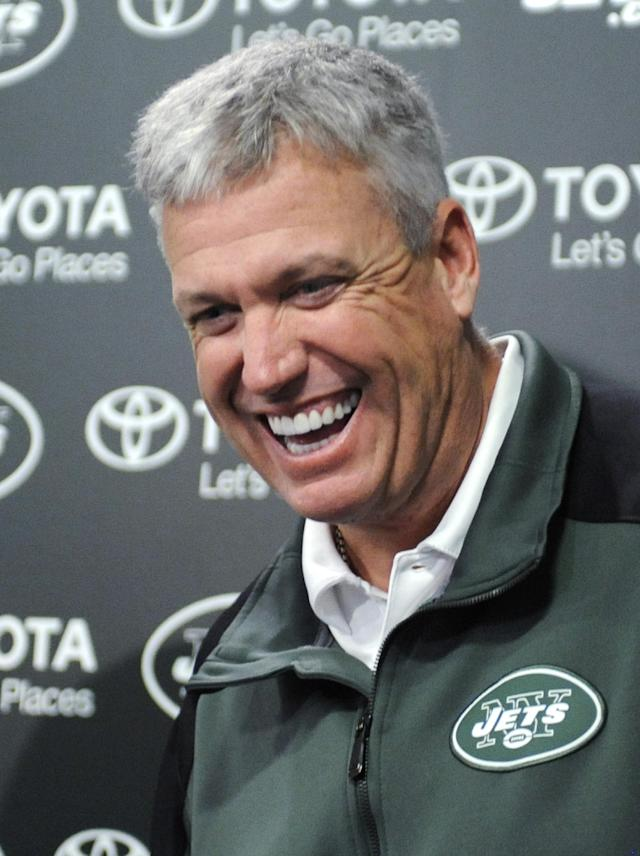 New York Jets coach Rex Ryan speaks to the media during an NFL football news conference Tuesday, Dec. 31, 2013, in Florham Park, N.J. (AP Photo/Bill Kostroun)