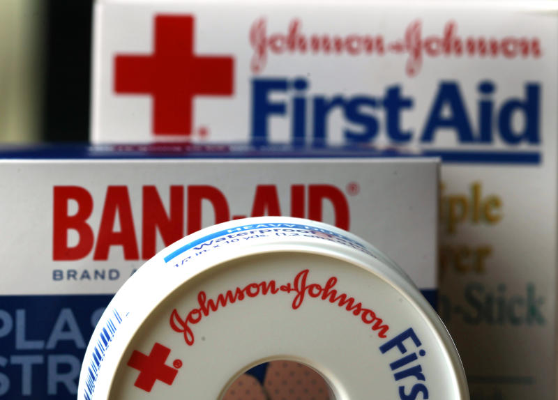 FILE - In this Monday, July 16, 2012, photo,  Johnson & Johnson products are displayed in Orlando, Fla. Johnson & Johnson reports quarterly financial results before the market opens on Tuesday, April 16, 2013. (AP Photo/John Raoux, File)