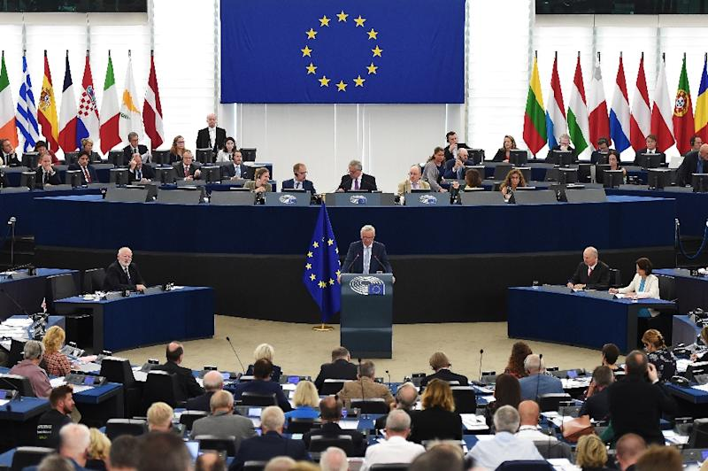 Juncker's speech was his last before he faces a populist challenge in May polls to elect new members of the European Parliament (AFP Photo/FREDERICK FLORIN)