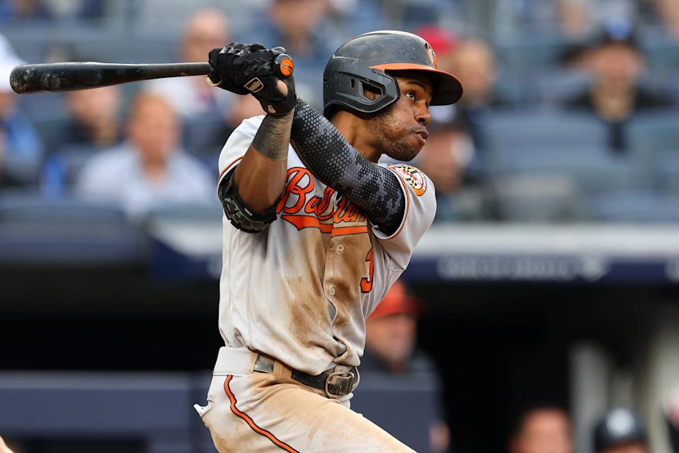 NEW YORK, NY - SEPTEMBER 05: Cedric Mullins #31 of the Baltimore Orioles hits a two-run home run against the New York Yankees during the sixth inning of a game at Yankee Stadium on September 5, 2021 in New York City. (Photo by Rich Schultz/Getty Images)