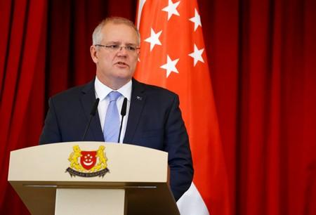 FILE PHOTO: Australia's Prime Minister Scott Morrison speaks at the Istana in Singapore