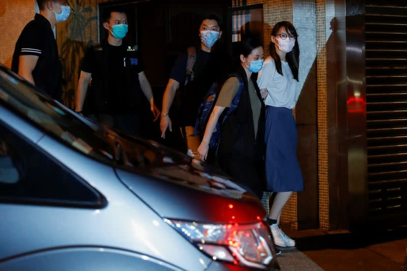 Pro-democracy activist Agnes Chow arrested by the national security unit in Hong Kong