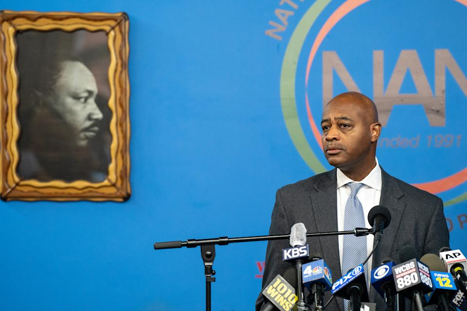 New York City Mayoral candidate Ray McGuire speaks during a press conference at the National Action Network's House of Justice to denounce the rise of attacks against Asian Americans on March 18, 2021 in New York City. (David Dee Delgado/Getty Images)