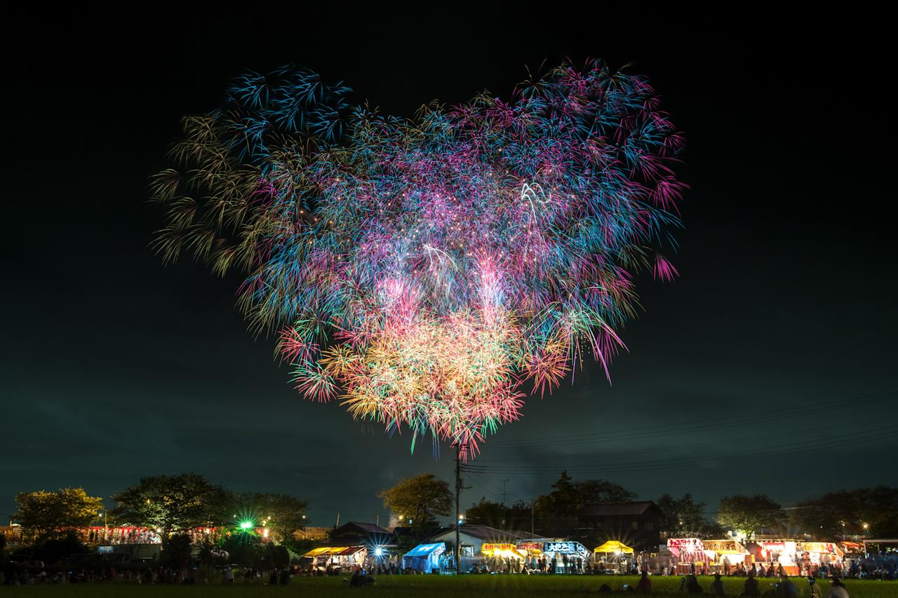 <p>Tsuchiura National Fireworks Competition, Tsuchiura City, Ibaraki Prefecture. (Photo: Makoto Igari/Caters News) </p>