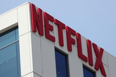 The Netflix logo is seen on the company's office in Hollywood, Los Angeles