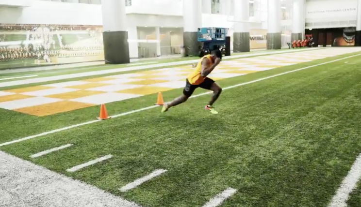 Christian Coleman begins his 40-yard dash. (Screenshot)