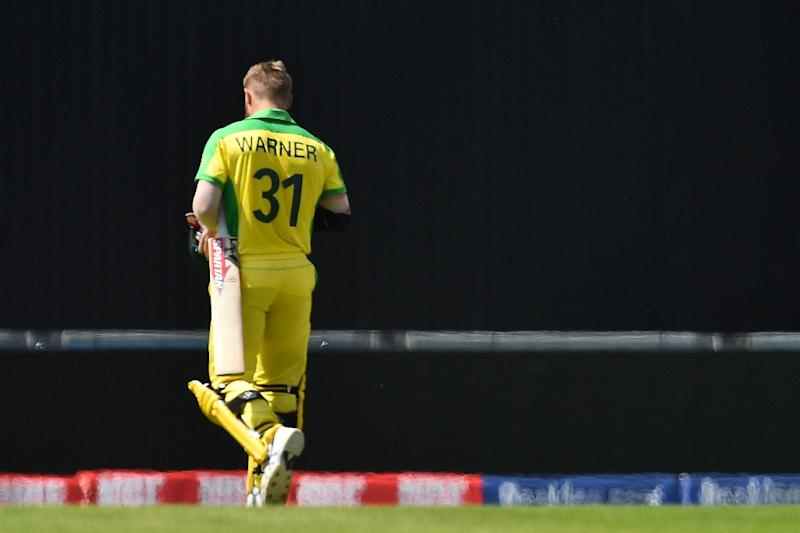 Taunts: Australia's David Warner walked off to boos from the crowd after being dismissed for 43 (AFP Photo/Glyn KIRK                  )