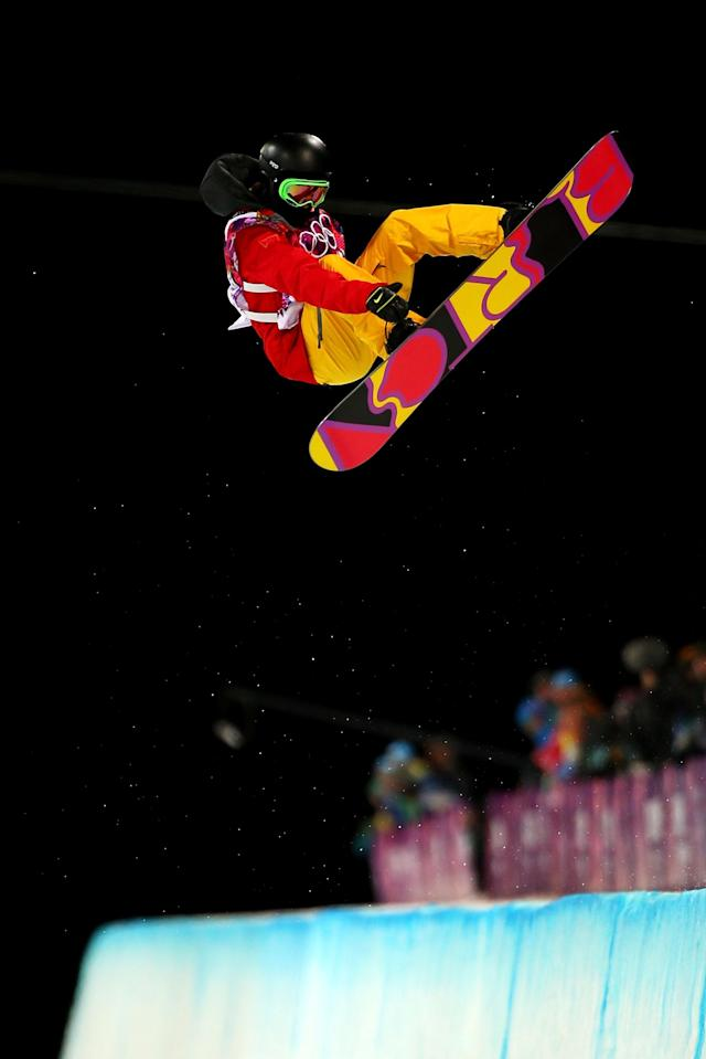 SOCHI, RUSSIA - FEBRUARY 12: Xuetong Cai of China competes in the Snowboard Women's Halfpipe Finals on day five of the Sochi 2014 Winter Olympics at Rosa Khutor Extreme Park on February 12, 2014 in Sochi, Russia. (Photo by Mike Ehrmann/Getty Images)