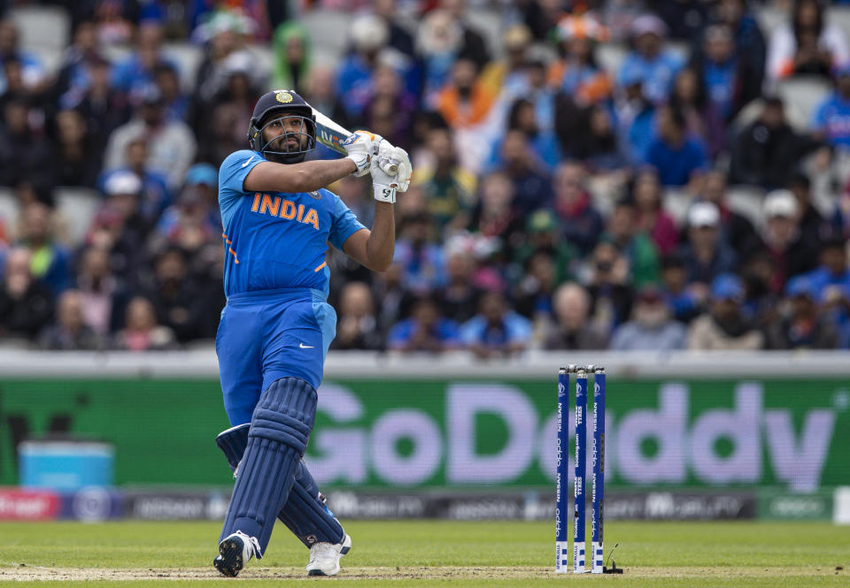 Rohit Sharma smashing a six (Photo by Andy Kearns/Getty Images)