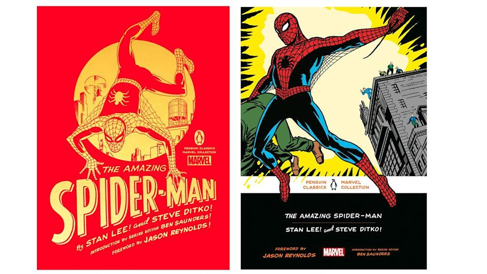 Deluxe and softcover cover art for the Penguin Marvel Classics Spider-Man collection.