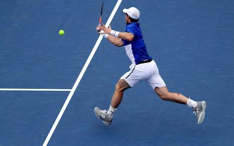 AUGUST 12: Andy Murray of Great Britain returns a shot to Richard Gasquet of France during Day 3 of the Western and Southern Open at Lindner Family Tennis Center on August 12, 2019 in Mason, Ohio.