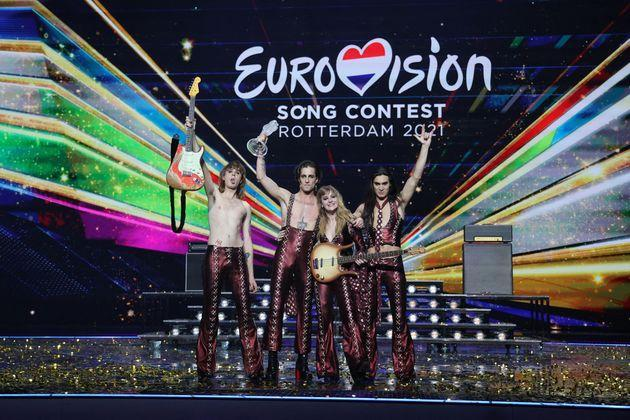 Italy's Maneskin pose for pictures on stage with the trophy after winning the final of the 65th edition of the Eurovision Song Contest 2021, at the Ahoy convention centre in Rotterdam, on May 22, 2021. (Photo by Kenzo Tribouillard / AFP) (Photo by KENZO TRIBOUILLARD/AFP via Getty Images) (Photo: KENZO TRIBOUILLARD via Getty Images)