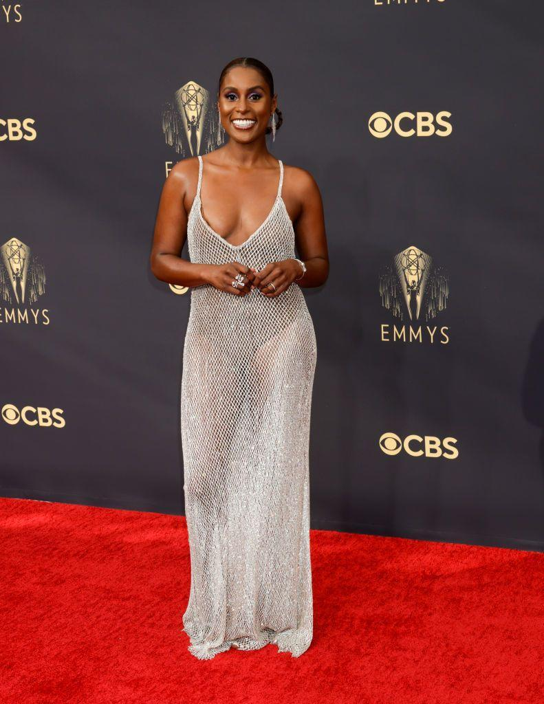 Issa Rae's legs are the real star of her sparkling, transparent emmy look