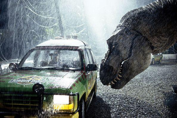 A tyrannosaurus rex terrorizes people trapped in a car in a scene from the 1993 American film Jurassic Park directed by Steven Spielberg. The sci-fi adventure stars Sam Neill, Laura Dern, and Jeff Goldblum. The film is an adaptation of Michael Crichton's novel of the same name. (Photo by Murray Close/Sygma/Sygma via Getty Images) (Photo: Murray Close via Sygma via Getty Images)
