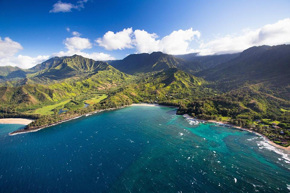 Scenic views of Kauai from above at the end of the road on the North Shore.