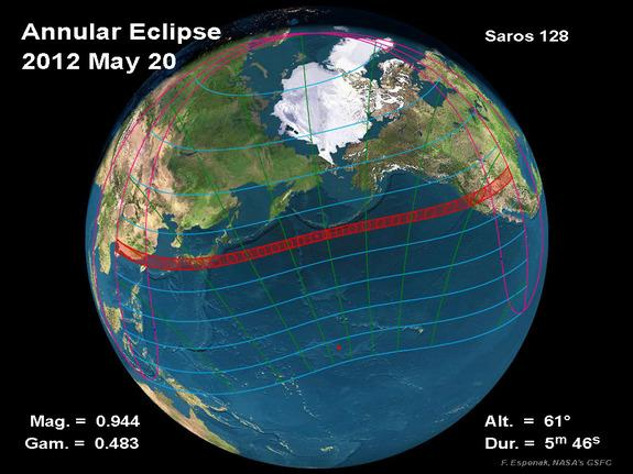 This NASA graphic depicts the path of best viewing for the annular solar eclipse of May 20, 2012.