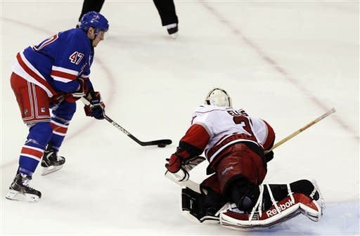 New York Rangers' J.T. Miller (47) shoots the puck past Carolina Hurricanes goalie Dan Ellis (31) during the shootout of an NHL hockey game, Monday, March 18, 2013, in New York. The Rangers won 2-1. (AP Photo/Frank Franklin II)