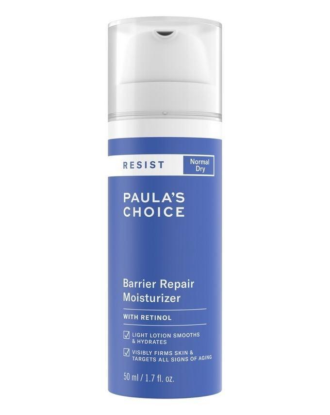 """Skin experts rate the Paula's Choice Barrier Repair Moisturiser because it's packed with antioxidants to protect skin from dulling environmental aggressors and chock full of squalane, which moisturises skin deeply and makes it soft and dewy. <br><br><strong>Paula's Choice</strong> Resist Barrier Repair Moisturizer, $, available at <a href=""""https://www.cultbeauty.co.uk/paulas-choice-resist-barrier-repair-moisturiser.html"""" rel=""""nofollow noopener"""" target=""""_blank"""" data-ylk=""""slk:Cult Beauty"""" class=""""link rapid-noclick-resp"""">Cult Beauty</a>"""