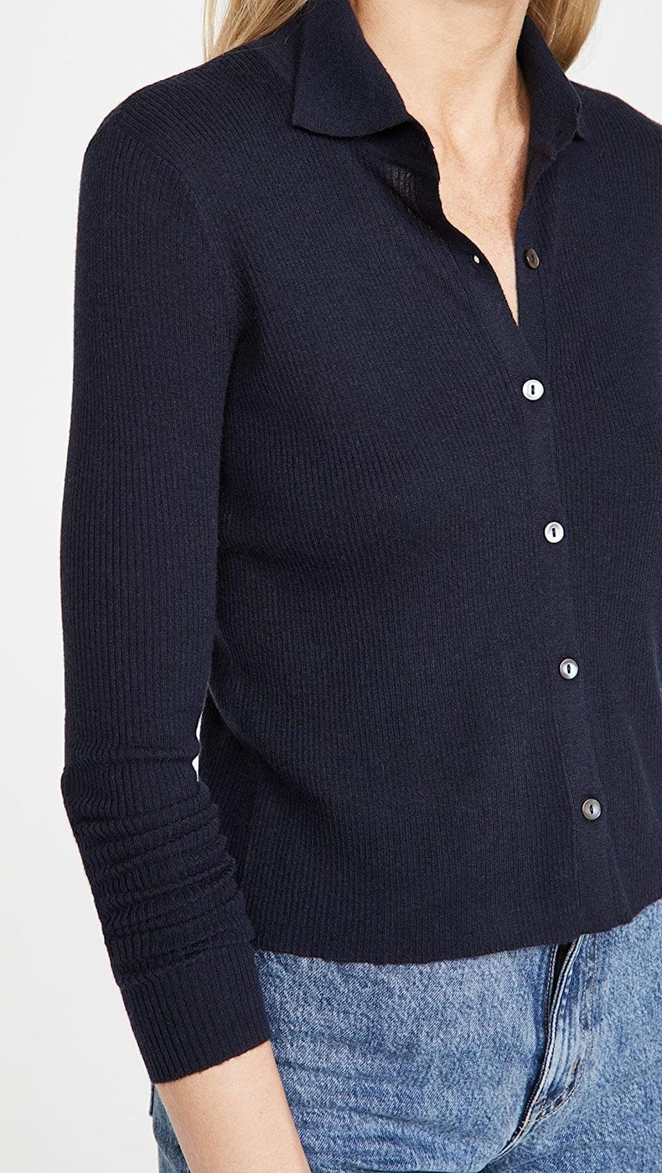 <p>This <span>Autumn Cashmere Cropped Rib Cashmere Cardigan</span> ($308) is the cardigan button-down hybrid we can get behind.</p>