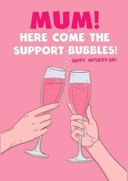 Here Come The Support Bubbles Mother's Day Card Thortful (Photo: Thortful)
