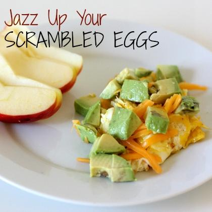 """<div class=""""caption-credit""""> Photo by: Spoonful</div><div class=""""caption-title"""">Jazz Up Your Scrambled Eggs</div><i><b>Ingredients:</b></i> <br> 1 Egg <br> 1 ounce shredded cheese (I like sharp cheddar) <br> 1/2 avocado, diced <br> 1 teaspoon onion, very finely diced <br> 1 teaspoon butter <br> Salt and pepper <br> <br> <i><b>Directions:</b></i> <br> In a small frying pan, melt butter. When it's hot, add onion and sautee until soft, about two minutes. <br> <br> Crack egg into pan. Sprinkle lightly with salt and pepper. Let cook, without stirring, 1-2 minutes, until the white part is mostly cooked through. <br> <br> Stir the egg briefly, breaking the yolk and mixing the white and yellow parts gently. Cook 1 more minute or until it's mostly set (don't cook it until it's completely set or it will overcook once you take it off the stove). <br> <br> Put egg on a plate, sprinkle the shredded cheese on top, and top with diced avocado. Serve immediately."""