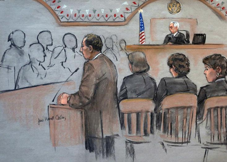 CLICK IIMAGE for slideshow: It this courtroom sketch, U.S. Attorney William Weinreb, left, is depicted delivering opening statements in front of U.S. District Judge George O'Toole Jr., right rear, on the first day of the federal death penalty trial of Boston Marathon bombing suspect Dzhokhar Tsarnaev, Wednesday, March 4, 2015, in Boston. Tsarnaev, depicted seated second from right between defense attorneys Judy Clarke, third from right, and Miriam Conrad, right, is charged with conspiring with his brother to place two bombs near the marathon finish line in April 2013, killing three and injuring 260 people. (AP Photo/Jane Flavell Collins)