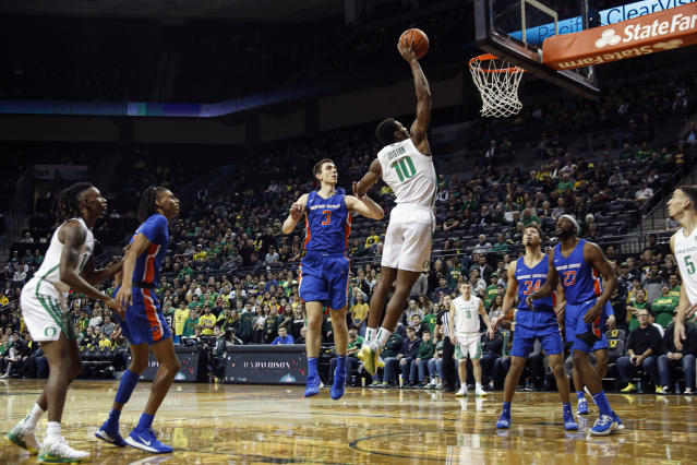 Oregon Ducks forward Shakur Juiston (10), shoots over Boise State in an NCAA college basketball game Saturday, Nov. 9, 2019, in Eugene, Ore. (AP Photo/Thomas Boyd)