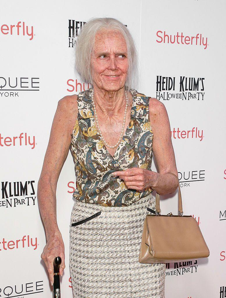 <p>Heidi dressed up as an older version of herself for this look, complete with wrinkles, gray hair, and a cane.</p>