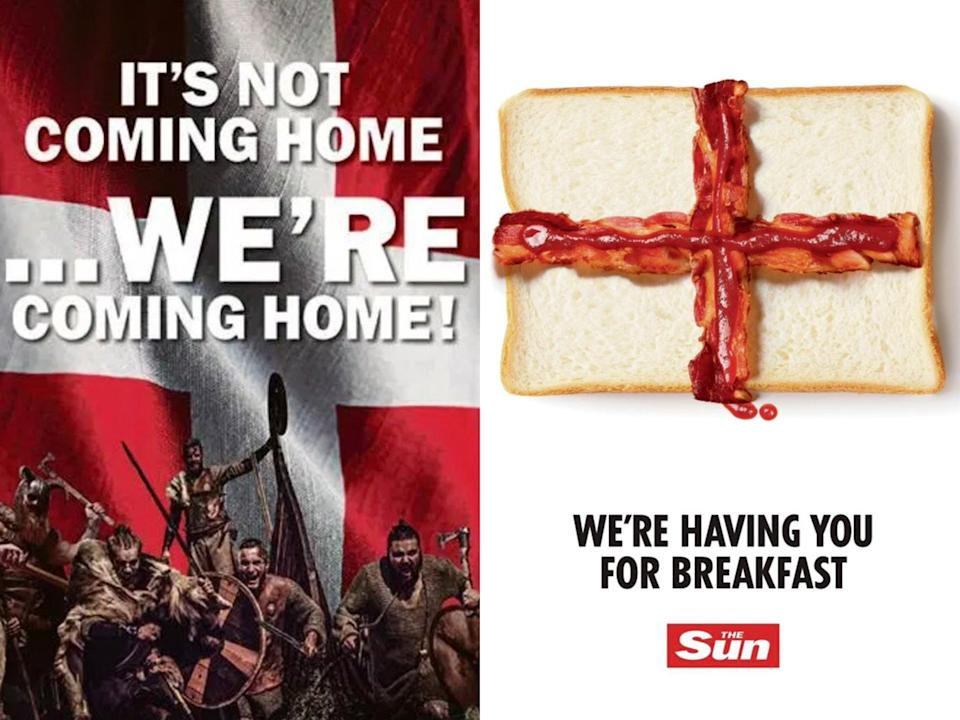 Danish tabloid took aim at 'Three Lions' as papers traded taunts ahead of semi-final (The Sun/B.T.)