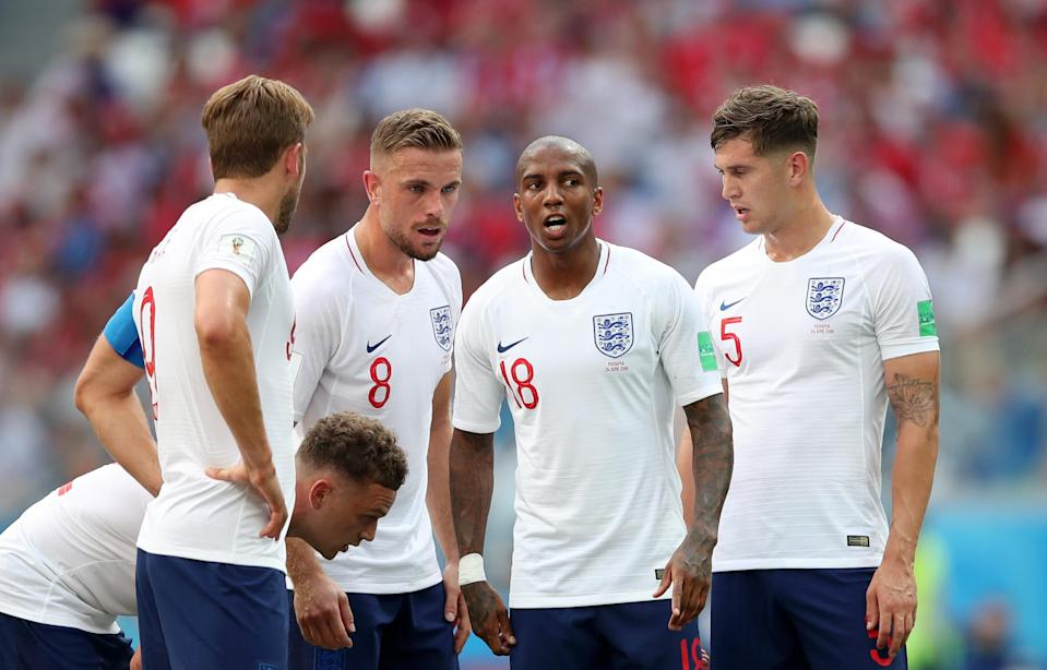 England players huddle before a set play against Panama at the 2018 World Cup. (Getty)