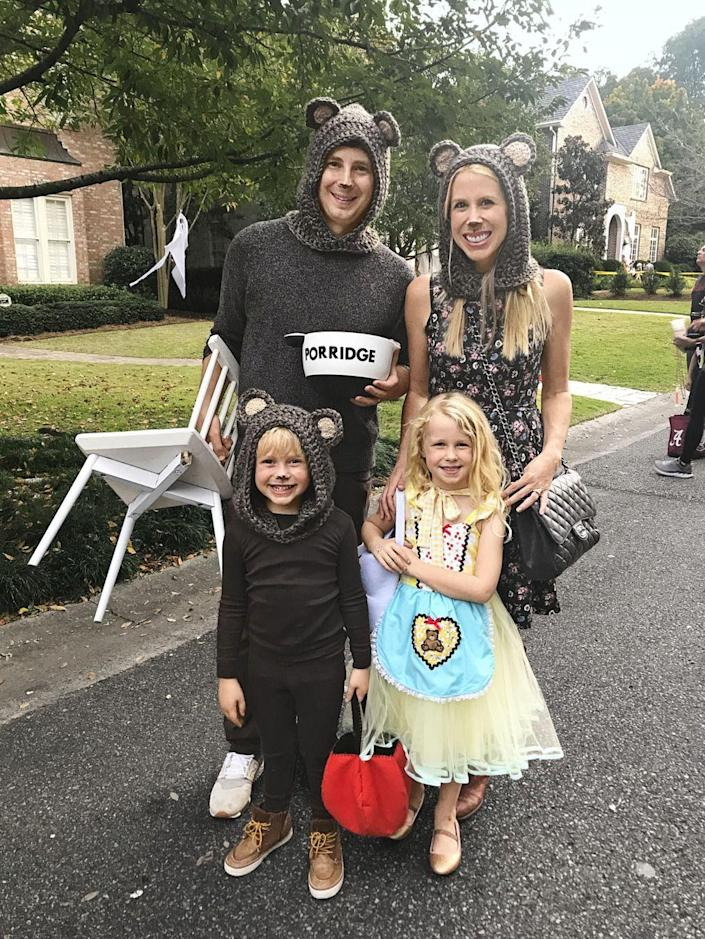 """<p><em>Country Living</em> Editor-in-Chief Rachel Hardage Barrett dressed her family up as """"Goldilocks and the 3 Barretts"""" in 2018—and it's safe to say we're smitten! As Goldie would put it, this costume is <em>juuust </em>right—and a perfect way to incorporate your kids into your couple's costume.</p><p><a class=""""link rapid-noclick-resp"""" href=""""https://www.amazon.com/Girls-Winter-Scarf-Earflap-Scarves/dp/B07JWDSXG6?tag=syn-yahoo-20&ascsubtag=%5Bartid%7C10050.g.4616%5Bsrc%7Cyahoo-us"""" rel=""""nofollow noopener"""" target=""""_blank"""" data-ylk=""""slk:SHOP BEAR KNITS"""">SHOP BEAR KNITS</a></p>"""