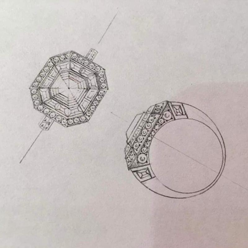 A sketch of an engagement ring commission, as posted by Robinson Pelham on its Instagram account - Credit: Instagram / @robinsonpelham