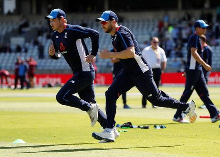 Cricket - England vs West Indies - First Test - Birmingham, Britain - August 17, 2017   England's Tom Westley and Mark Stoneman (R) warm up before the start of the first test   Action Images via Reuters/Paul Childs