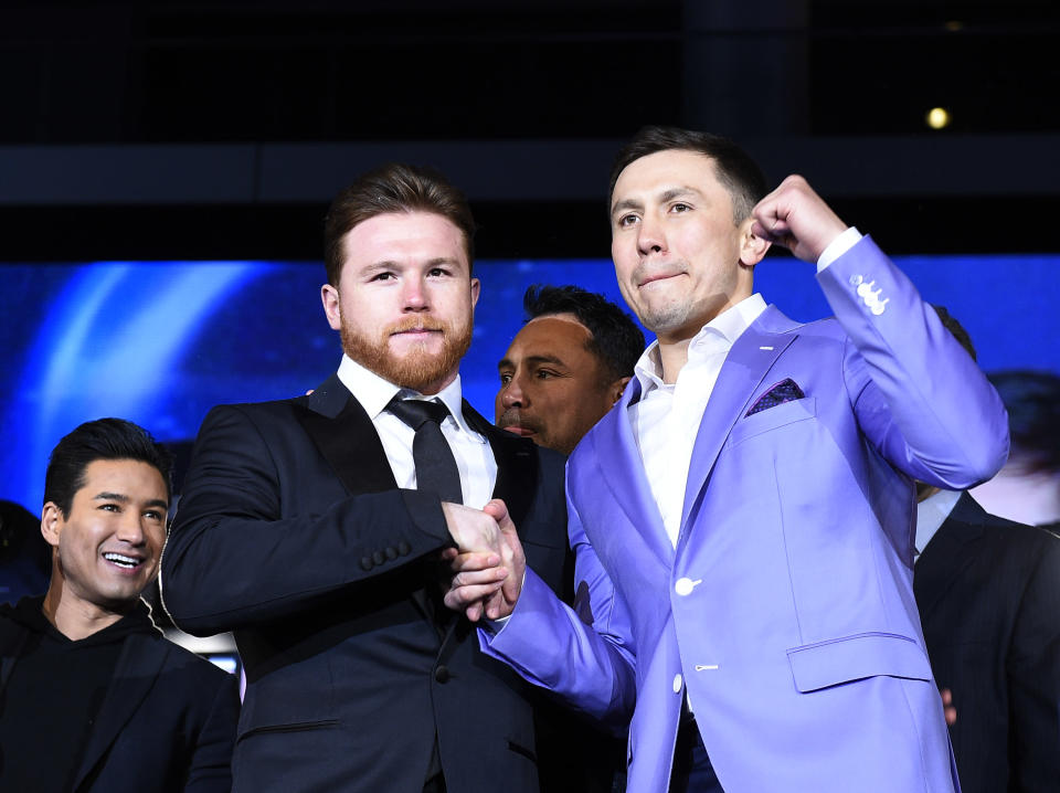 The friendliness that existed between Canelo Alvarez (L) and Gennady Golovkin (R) before Alvarez failed two drug tests has eroded ahead of their much anticipated rematch Saturday. (Getty Images)