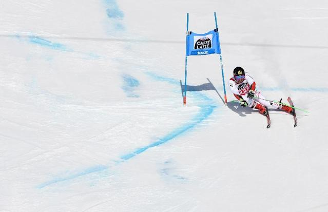 High winds on Sunday deprived Marcel Hirscher of the chance to add to his tally of victories which included Saturday's Giant Slalom finale (AFP Photo/Jonathan NACKSTRAND)