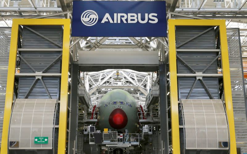 General view shows an Airbus A380 at the final assembly line at Airbus headquarters in Blagnac near Toulouse