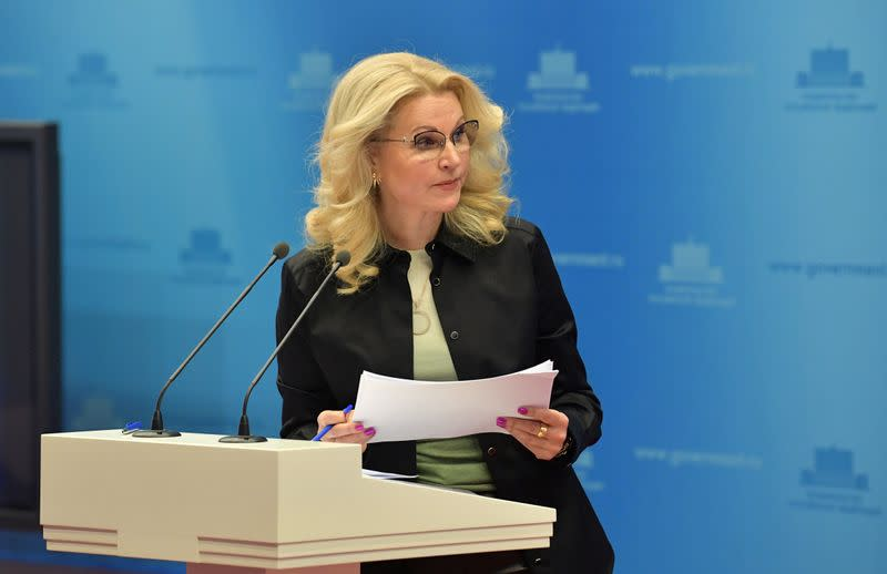 Russian Deputy Prime Minister Golikova attends a session of a council to confront the coronavirus in Moscow