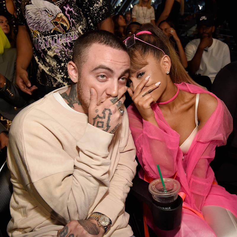 NEW YORK, NY - AUGUST 28: Mac Miller and Ariana Grande sit in the audience at the 2016 MTV Video Music Awards at Madison Square Garden on August 28, 2016 in New York City. (Photo by Kevin Mazur/WireImage)
