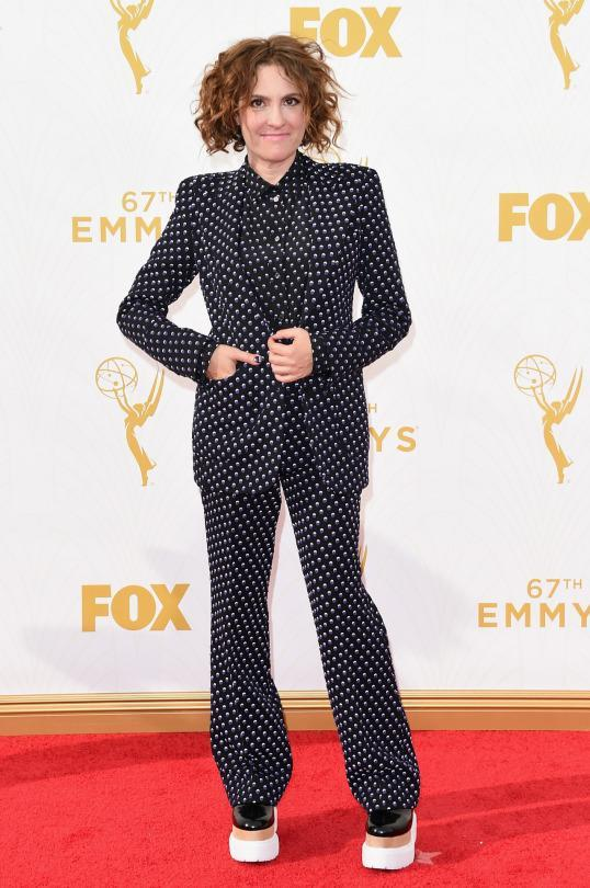 <p>Not only did Jilly Soloway take home the Emmy for Best Directing, Comedy, she also scored a perfect 10 for her Bottega Veneta polka dot suit and Stella McCartney creepers. <br></p>